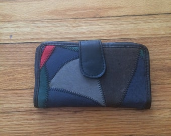 Vintage Unbranded 100% Genuine Leather Color Block Snap Wallet