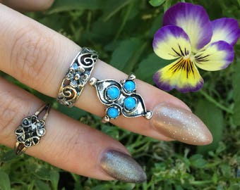 Garden Ring Set- Ring bundle with faux turquoise stones