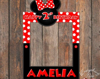 """Minnie Mouse Red 24"""" x 36""""  Happy Birthday Photo Booth Frame Digital Download"""