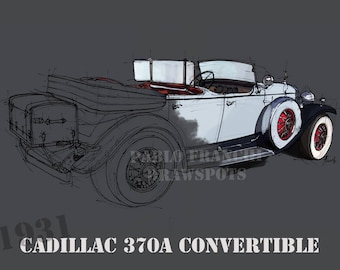CADILLAC 370A Convertible 1931, 8.62x12 in and bigger sizes,gift for men,teen bedroom decoration,office decoration,red and grey poster