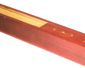 Small Wooden CAO America Anthem Singal Cigar Box - Wood Red and Gold Small Cigar Box - Personal Individual Cigar Box - Pencil Box
