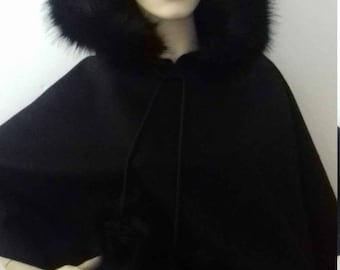 Pure wool and faux fur cape, poncho