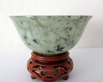 Vintage Chinese Spinach Jade Bowl with Stand, Translucent Areas, Wedding Bowl