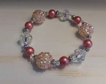 Beaded Stretch Bracelet, Matte Coral Beads, Coral Disco Ball, Salmon Beads, Peach Beads, Crystal Diamond Cut Beads, Silver Accent Spacers