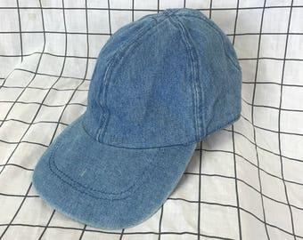 Vintage Classic Plain Denim Jean Baseball Cap/Hat