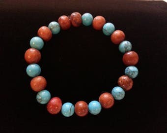 Blue Turquoise and Wood Beads Stretch Bracelet 8mm