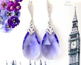 Purple Earrings Tanzanite Earrings Swarovski Purple Crystal Lavender Earrings Lilac Bridesmaid Earrings Light Purple Jewelry TZ32H
