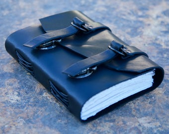 "Explorers Leather Journal - Black - Diary - Notebook - Sketchbook - 5""x6"""
