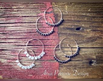 Rose Gold Hoop Earrings Bohemian Earrings 30mm Hoop Quartz Black Spinel Black Tourmaline