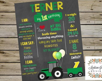 Green and Yellow Tractor Birthday Chalkboard, Customized Birthday Chalkboard, Green Tractor BIRTHDAY SIGN, 1st, 2nd, 3rd, 4th  birthday