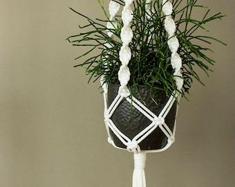 Macrame Plant hanger, snow white cord plant hanger, Plant moms, gift for mom