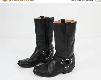 25% OFF Sancho Boots / Moto Boots / Motorcycle Boots / Man Leather Boots / Size 42 Boots / Vintage Boots / 80s Boots / Black Leather Boots