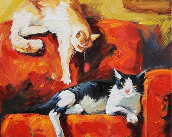 Cats Painting - Hand Painted Oil Painting on Canvas - STRETCHED - Fine Art Wall Decor