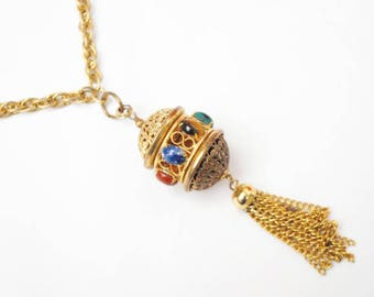 Gemstone gold tassel necklace - gold filigree open caged  - sodalite tiger eye jade rose quartz carnelian