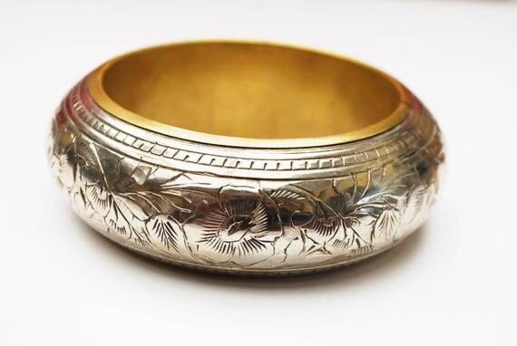Boho Chunky Silver Brass Bangle - Flower etched silver - Large Bracelet