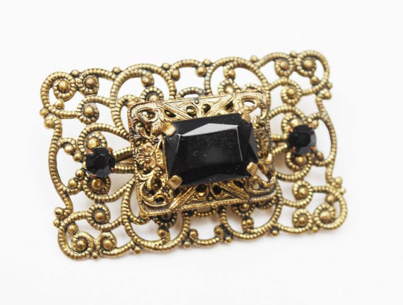 Black Glass Brass Brooch - rectangle gold filigree - mourning pin