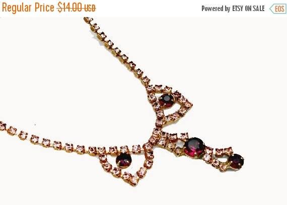 Purple Pink Rhinestone  necklace - Princess length  - vintage necklace