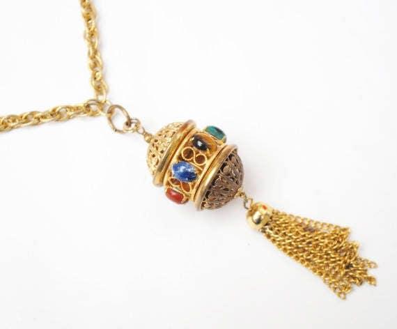 Gemstone gold tassel necklace - gold filigree open caged  - sodalite tiger eye jade rose quartz carnelian