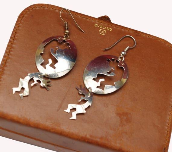 Sterling Kokopelli Earrings - Native American - Southwestern - silver flute dancer -dangle drop earring