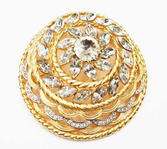 Alice Caviness Rhinestone Brooch - Large Domed - Clear crystal Rhinestone pin - Designer Signed - Pin