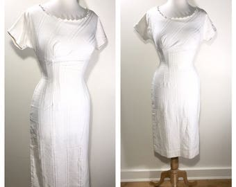1960s White Midi Dress Casual Wedding Dress Garden Party Dress White Summer Party Dress Pencil Dress Short Sleeve Cotton Dress Sundress