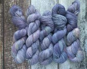 DK hand dyed luxury yarn, Baby Alpaca, Silk and Cashmere blend, Hay River Nights, 246 yards, blue, purple, red, green, yellow variegated