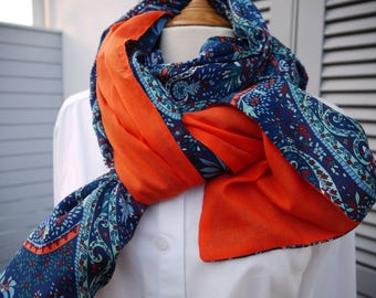 Scarf shawl 2 sides different Paisley ds blues on one side and orange cotton voile