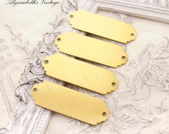 Scalloped End Large Raw Brass Stampings ID Tags Connectors 38x13mm - 6