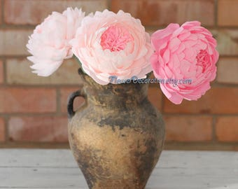 3 blossom crepe paper peonies - great home floral paper flowers, choose other peonies number