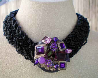 Black braided &large purple station necklace, Up cycled/Recycled Jewelry, Handmade/Repurposed Jewerly, Free USA shipping, Made in USA/MI