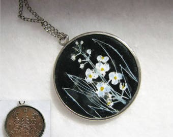 """Vintage ENAMELED JAPANESE PAULOWNIA Flower Coin on Chain -- Sterling Silver, 5.5g Total, Copper Coin 7/8"""" Diameter, Totally Unique!"""