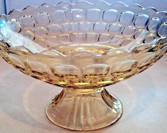 Vintage Mid-Century Large Yellow Glass Pedestal  Brick Wheat Serving Fruit Bowl