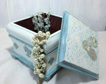 Decorative Fluer De Lis Wood Box, Teal And White Storage Box, Vintage  Crystal Knob