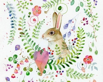 wild rabbit among the ferns and flowers original watercolor painting 12 x 12