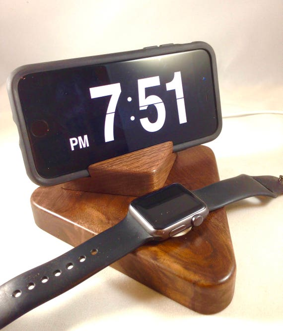 Special Edition Apple Watch Stand and iPhone Stand / Charging Dock / Charging Station - Black Walnut