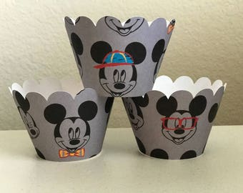 Mickey Mouse Cupcake Wrappers set of 12 Ready to Ship, Mickey Mouse fun cupcake wrappers, Mickey Mouse silly faces cupcake wrappers