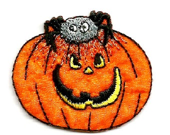 Jack-O-Lantern - Spider - Halloween - Pumpkin - Embroidered Iron On Patch