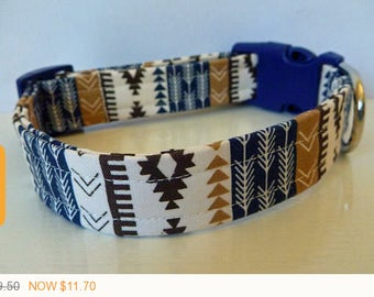 """Puppy Love Sale - 40% Off Modern Unisex Aztec Brown Navy & Tan Stripes and Arrows Dog Collar """"Jacob"""""""