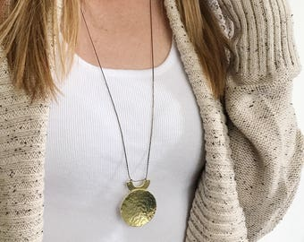 Round Hammered Brass Disc Long Necklace, Minimalist, Statement Necklace, Gift for Her, Gold