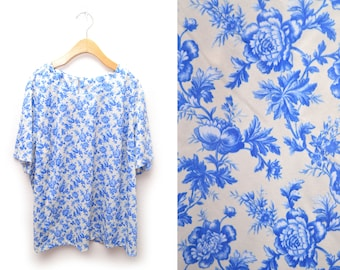 80s Floral Blue Shirt T-shirt Womens Plus Size 2X XXL
