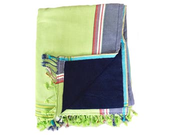 Kikoy Towel Lime with Navy backing