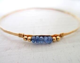 Hammered gold bangle bracelet gold filled, Sapphire bracelet, boho bracelet, stacking bracelet, delicate skinny bangle bracelet