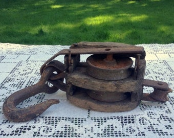 17% OFF SALE Antique Farm Pulley /  Primitive Wood & Metal Pulley / Antique Farm Block and Tackle / Primitive Farm Pulley / Authentic Farmho