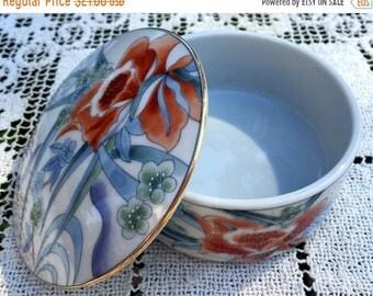 "Save 15% OFF Takahashi Box/Ceramic Trinket Box/Round Trinket Box/ 3.5"" Porcelain Box/Orchid Porcelain Box/ Floral Vanity Box/Mothers Day Gif"