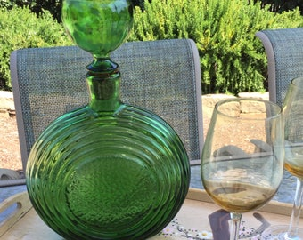 Green glass wine decanter, round, textured, round stopper top, mid century