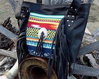 20% OFF Southwestern black leather fringe tote