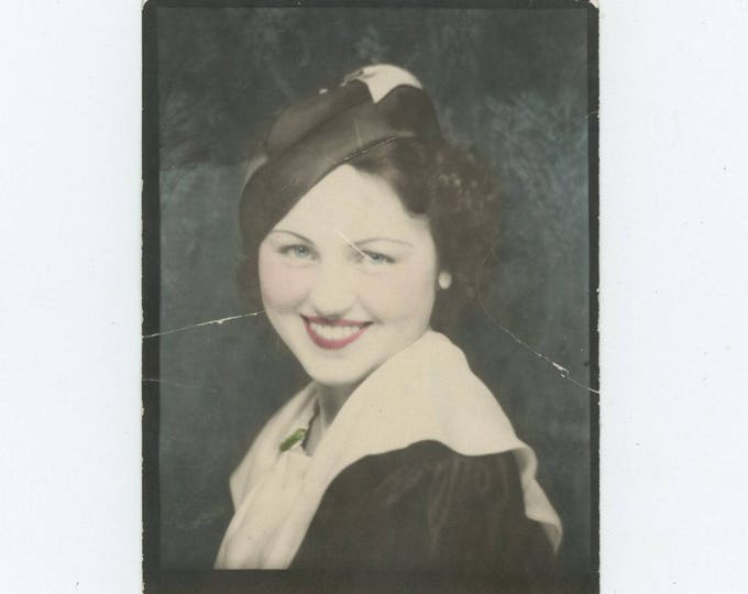 Vintage Enlarged & Tinted Photo Booth: Pretty Smile, c1930s (81634)