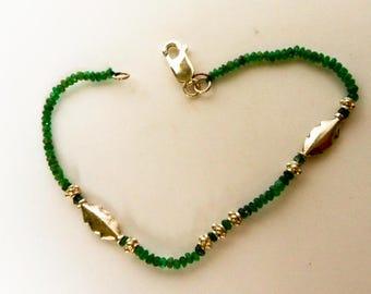 Vintage Sterling  Green Jade Bracelet   Nephrite Jade