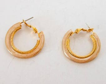 Gold Inlay Hoop Earrings    Gold Tone  MOP    Pierced Ears