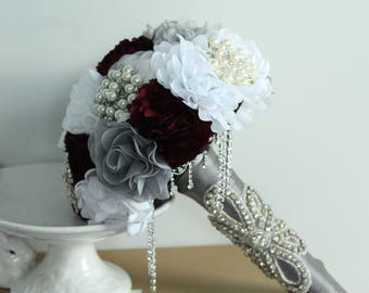 Bridal Fabric Brooch Bling Bouquet with Rhinestone Handle